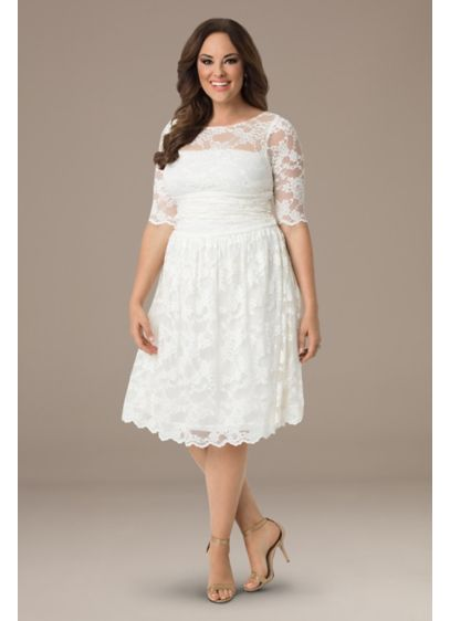 Plus Size Aurora Lace Short Wedding Dress