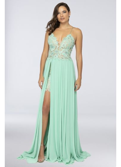 Lace Spaghetti Strap Dress with Chiffon Overskirt - Floaty and flirty, this spaghetti strap prom dress