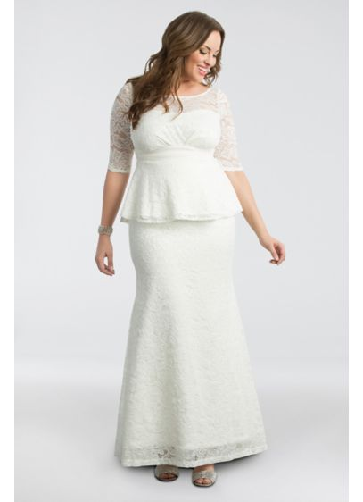Poised Peplum Plus Size Wedding Gown