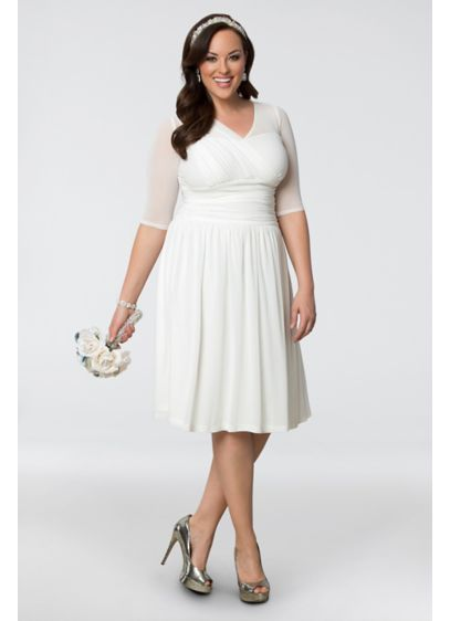 Forever yours plus size short wedding dress davids bridal short 0 casual wedding dress kiyonna junglespirit Images