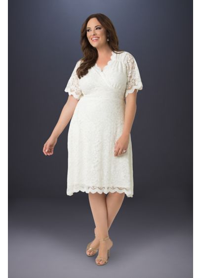Graced with Love Plus Size Lace Wedding Dress - This short and flirty wedding dress is perfect