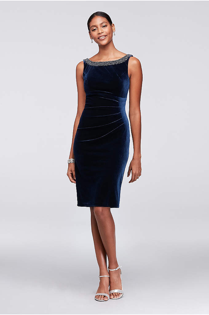 Cowl Back Velvet Sheath Dress - The high beaded neckline of this side-gathered velvet