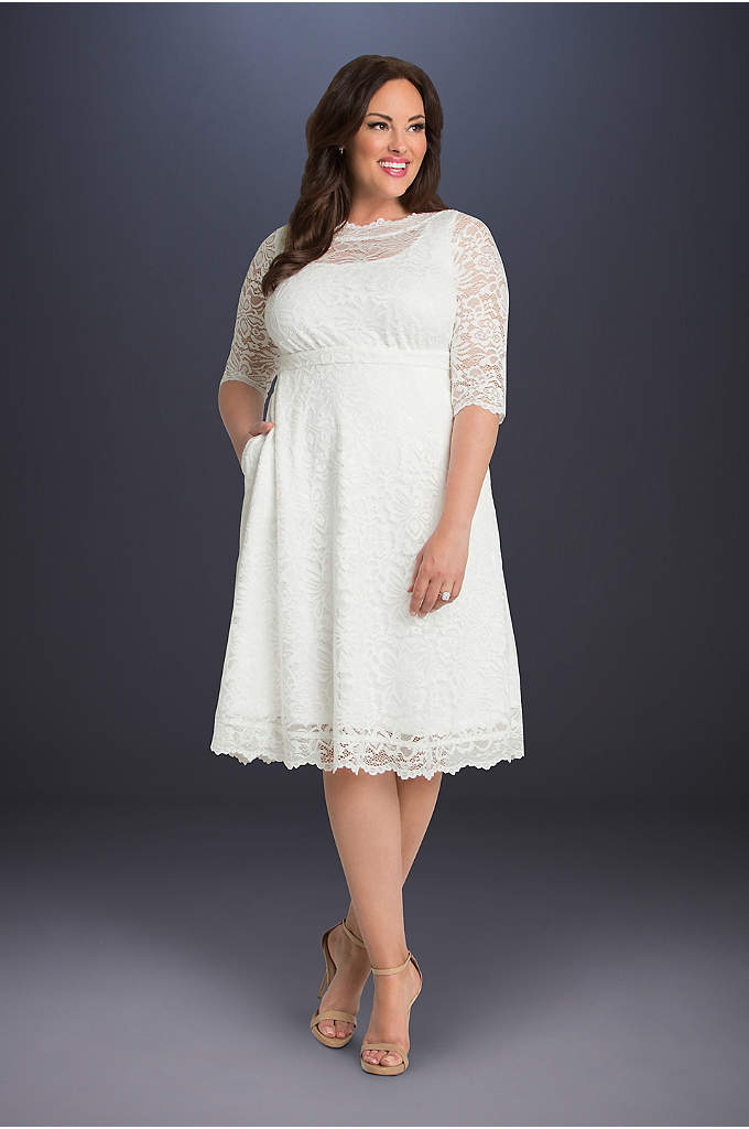 Pretty In Lace Plus Size Wedding Dress - This short lace plus-size wedding dress features an