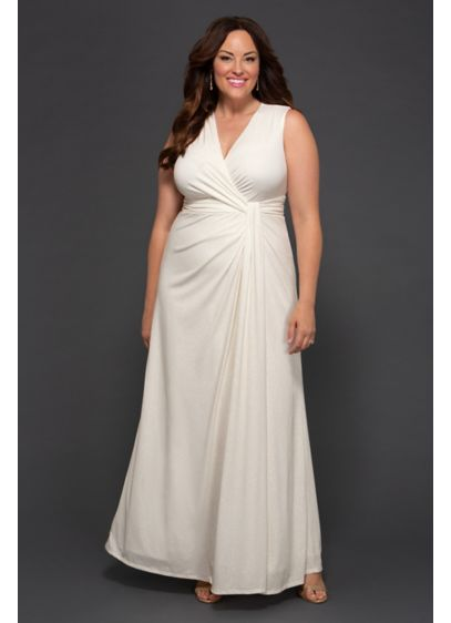 Gilded By Moonlight Plus Size Wedding Dress - This sleeveless plus-size wedding gown is crafted of