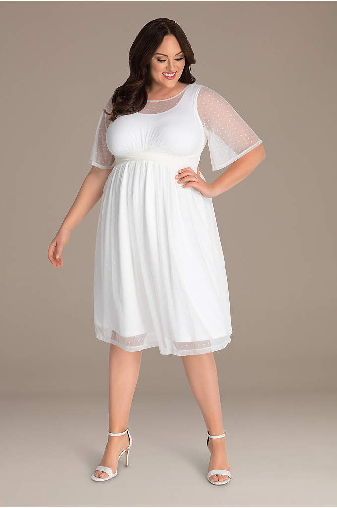 Stars A-Line Plus Size Wedding Dress - This short plus-size wedding dress has a delightfully