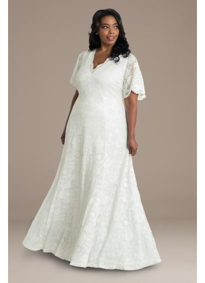 Blissful Lace Plus Size Floor Length Wedding Gown - Adorn yourself in dreamy floral lace with this