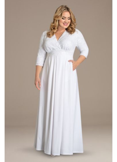 Starlight Sequin Plus Size A-Line Wedding Gown - With twinkling sequin lace atop a flattering surplice