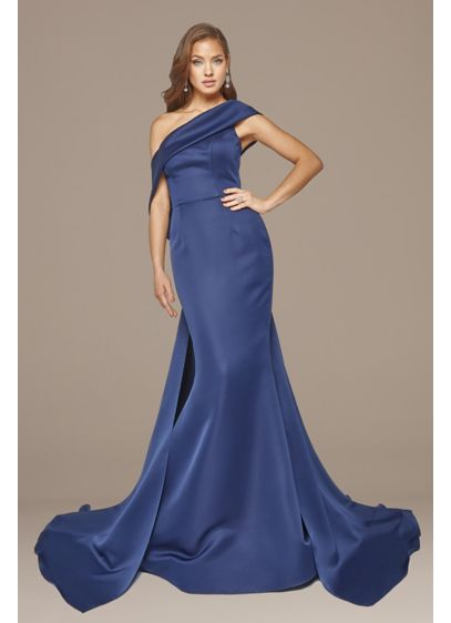 Asymmetrical Off-Shoulder Matte Satin Gown - The asymmetrical one-shoulder cuff leads to a sweeping