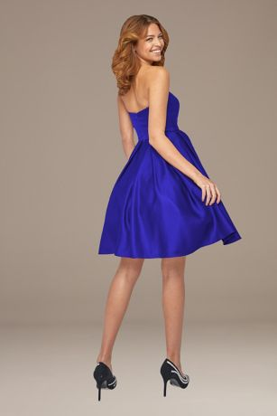 Short Fit and Flare Strapless Dress - Terani