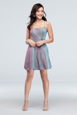 Short A-Line Spaghetti Strap Dress - Glamour by Terani