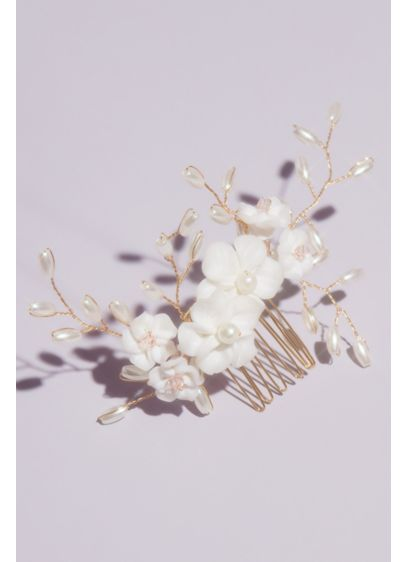 David's Bridal Pink (Floral Hair Comb with Wire Twist Beads and Pearls)