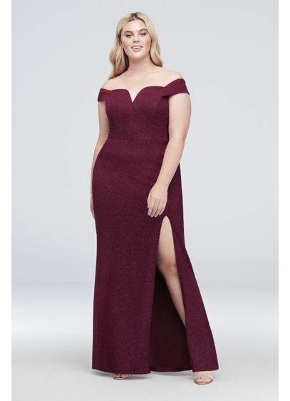 V-Wire Off-The-Shoulder Glitter Plus Size Gown | David's ... - photo #11