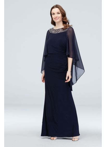 Embellished Neck Drape Sleeve Gown with Ruching - Figure-flattering and oh-so comfortable, this sheath gown features
