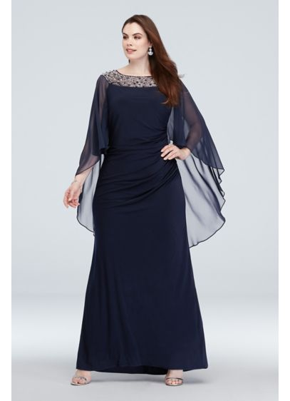 Embellished Neck Drape Sleeve Plus Size Gown - Figure-flattering and oh-so comfortable, this plus-size sheath gown