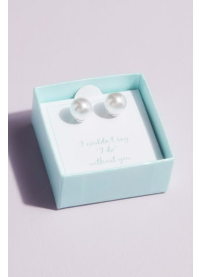 Say I Do Pearl Stud Earrings with Gift Box - Wedding Gifts & Decorations