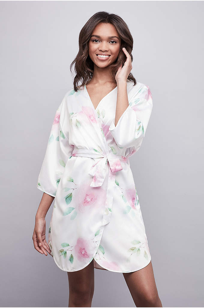 Soft Floral Satin Robe - Watercolor flowers bloom on this soft satin robe.