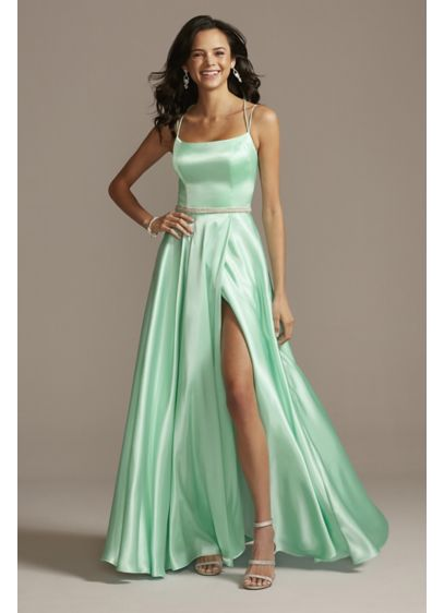 Satin Double Spaghetti Strap Crystal Belt Dress - Make an entrance in this satin gown, embellished
