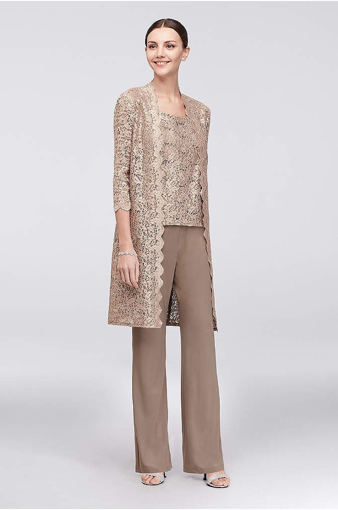 Long Lace Jacket Three-Piece Pantsuit - A long, sequined lace jacket, paired with a
