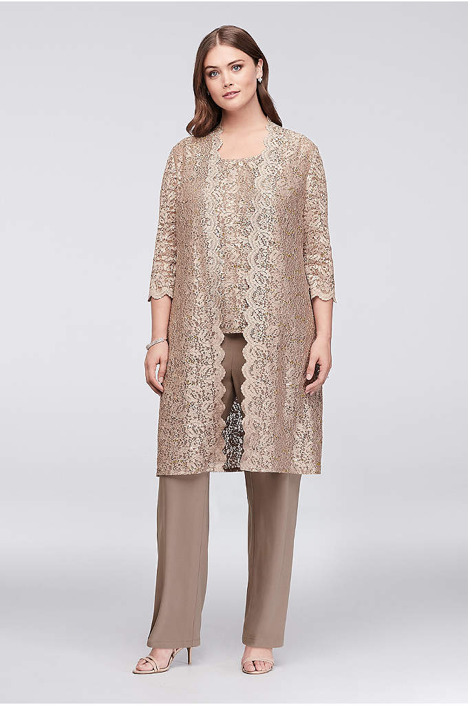 Long Lace Jacket Three-Piece Plus Size Pantsuit - A long, sequined lace plus-size jacket, paired with