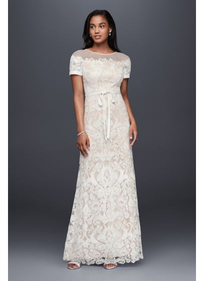 Illusion Off-The-Shoulder Lace Sheath Dress | David\'s Bridal