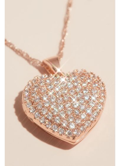 Crystal Embellished Heart Locket Pendant Necklace - Keep those you love close to your heart