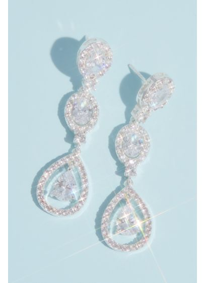 David's Bridal Grey (Cubic Zirconia Halo Triple Teardrop Earrings)