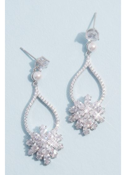 David's Bridal Grey (Cubic Zirconia and Pearl Drop Earrings with Bursts)