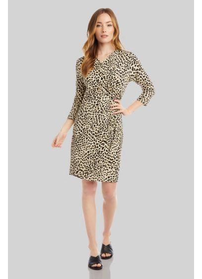 Cheetah Print Faux Wrap 3/4 Sleeve Cascade Dress - Take a walk on the wild in this
