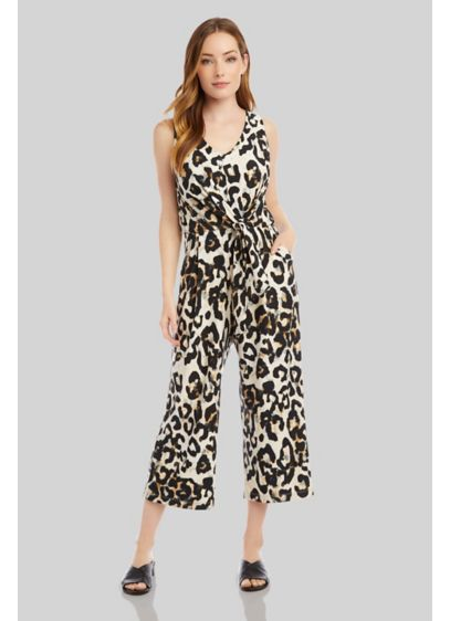 Cheetah Print V-Neck Tie-Front Sleeveless Jumpsuit - A fun cheetah print gives this sleeveless jumpsuit