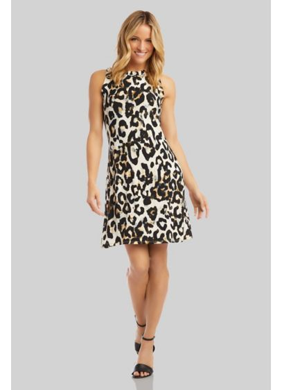 Cheetah Print Scoopneck Sleeveless Sheath Dress - A scoop neckline and a classic sheath silhouette