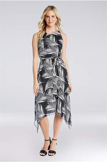Printed Crepe Handkerchief Hem Dress with Tie