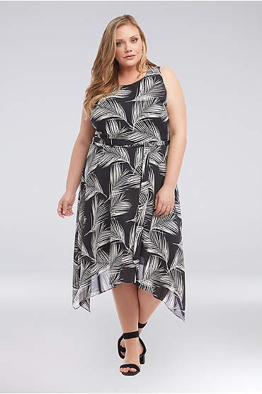Printed Plus Size Crepe Handkerchief Hem Dress