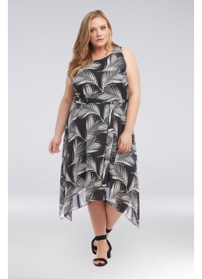 Printed Plus Size Crepe Handkerchief Hem Dress - Featuring a bold palm print, this sleeveless crepe