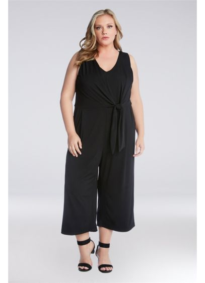 Knit Tie-Front Plus Size Jumpsuit with Pockets - Whether you're dressing it up or down, this