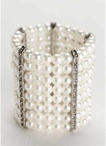 Pearl and Rhinestone Bar Bracelet - Wedding Accessories