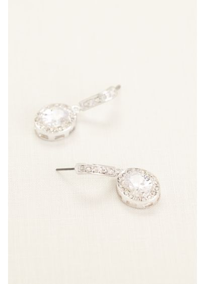 Pave Crystal Drop Earrings - Wedding Accessories