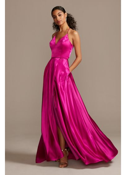 Charmeuse Spaghetti Strap Gown with Lace-Up Back - Crafted from high-shine charmeuse satin, this radiant A-line