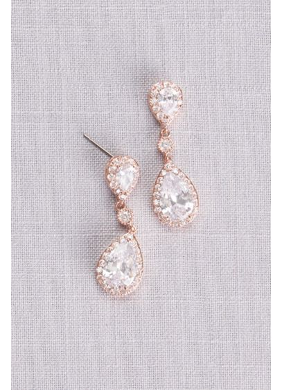 David's Bridal Grey (Cubic Zirconia Halo Teardrop Earrings)