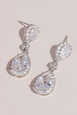 Cubic Zirconia Halo Teardrop Earrings