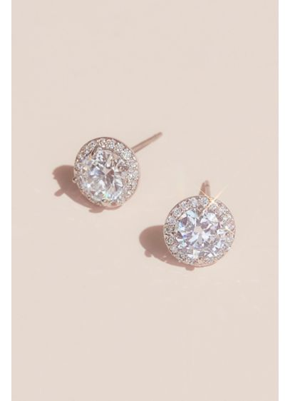 Solitaire-Cut Crystal Stud Earrings with Pave Halo - Wedding Accessories