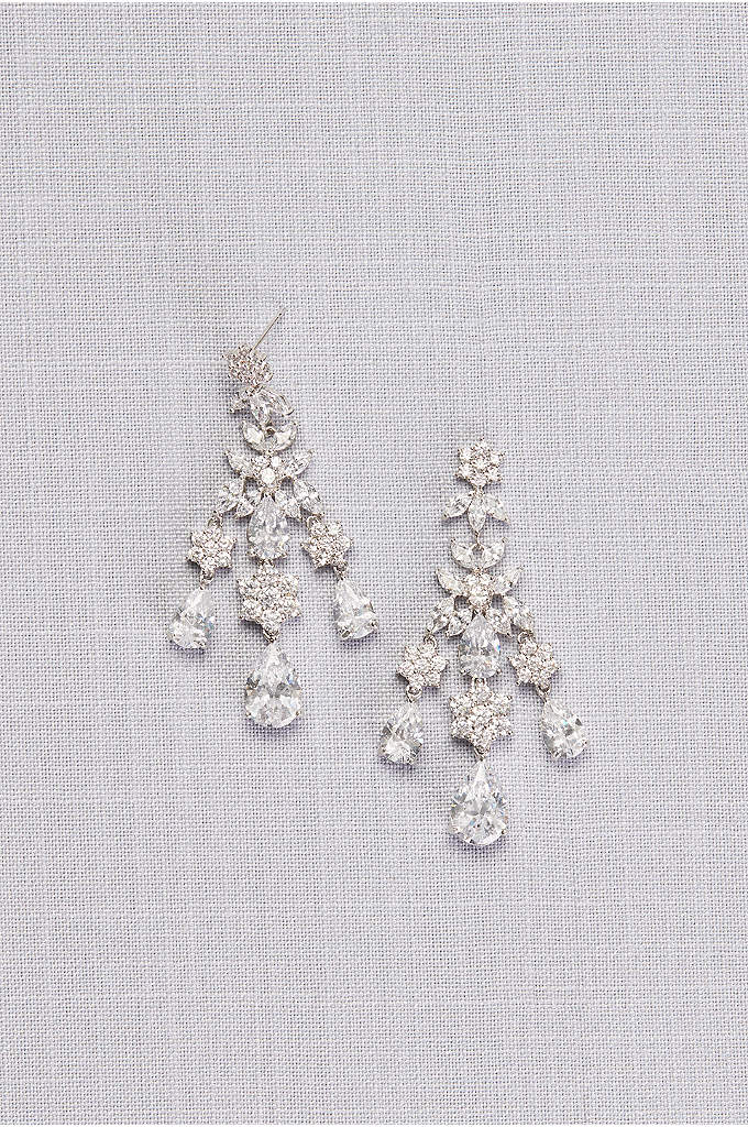 Floral and Pear Cubic Zirconia Chandelier Earrings - A boldly glam pair of chandelier earrings, featuring