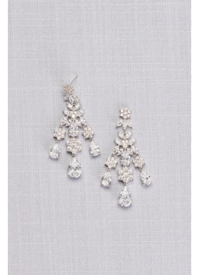 Floral and Pear Cubic Zirconia Chandelier Earrings - Wedding Accessories