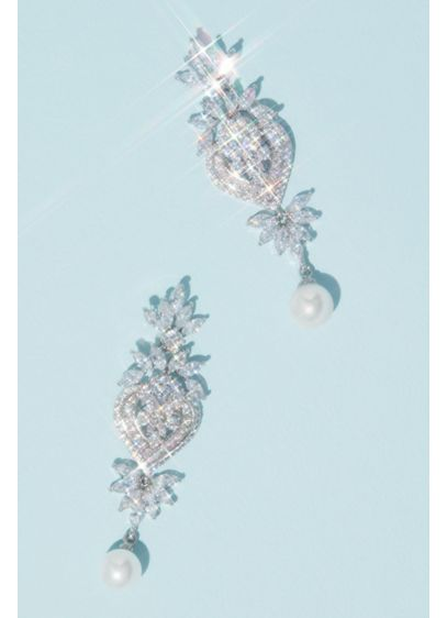 Crested Heart Crystal Earrings with Pearl Drop - Wedding Accessories