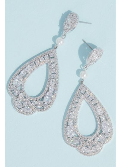 Cubic Zirconia and Pearl Scalloped Drop Earrings - Created from a mosaic of sparkling cubic zirconia