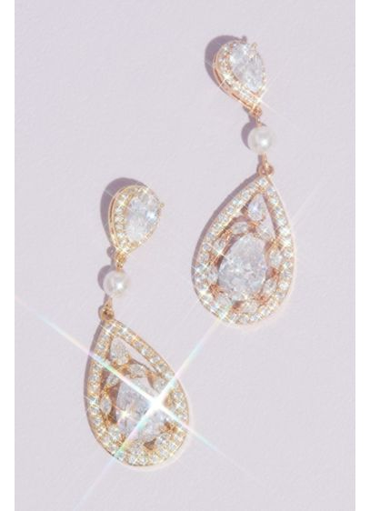 Teardrop Crystal Haloed Drop Earrings with Pearl - Wedding Accessories