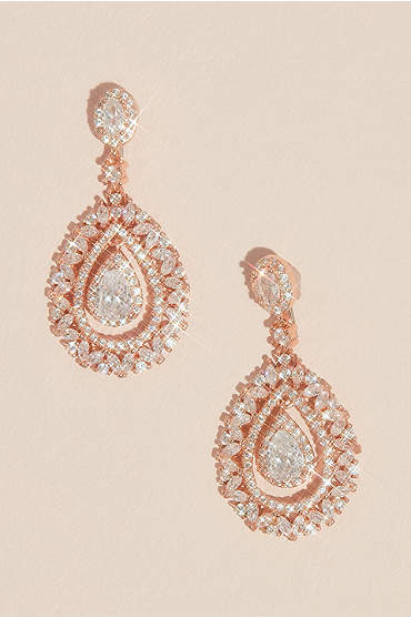 Crystal Embellished Crest Drop Earrings
