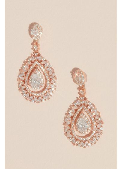 Crystal Embellished Crest Drop Earrings - Wedding Accessories