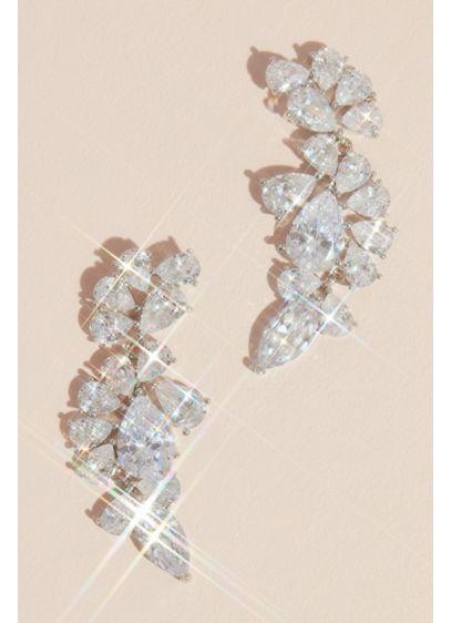Teardrop Crystal Encrusted Cluster Earrings - Wedding Accessories