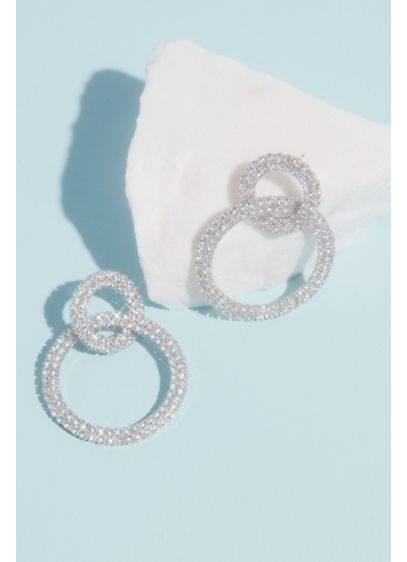 David's Bridal Grey (Linked Rhinestone Double Hoops)