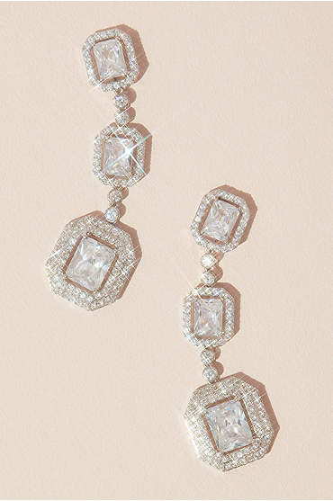 Emerald Cut Haloed Cubic Zirconia Drop Earrings